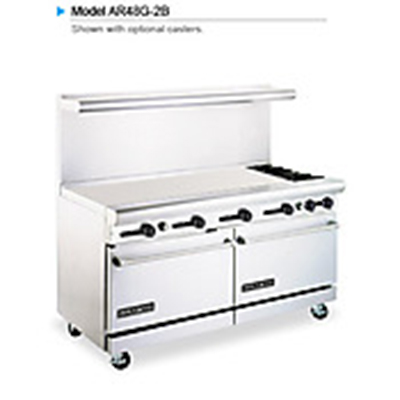 "American Range AR48G2B 60"" 2-Burner Gas Range with Griddle, LP"
