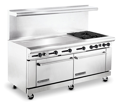 "American Range AR48G-4B 72"" 4-Burner Gas Range with Griddle, LP"