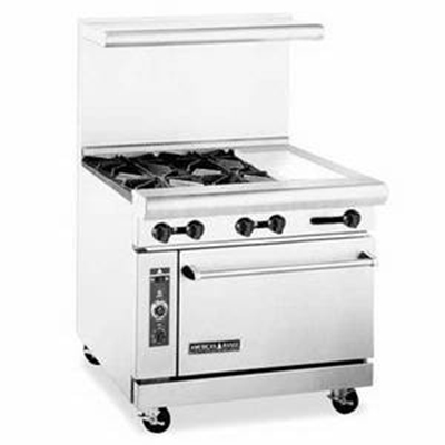 "American Range AR4B12RG 36"" 4-Burner Gas Range with Griddle & Broiler, NG"