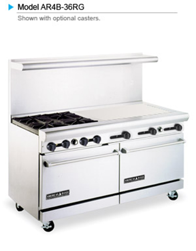 "American Range AR4B36RG 60"" 4-Burner Gas Range with Griddle & Broiler, NG"