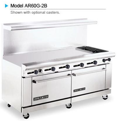 """American Range AR60G-2B 72"""" 2-Burner Gas Range with Griddle, LP"""