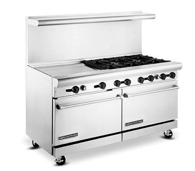 "American Range AR6B24RG 60"" 6-Burner Gas Range with Griddle & Broiler, LP"