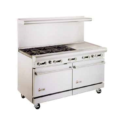 "American Range AR6B-36RG 72"" 6-Burner Gas Range with Griddle & Broiler, LP"