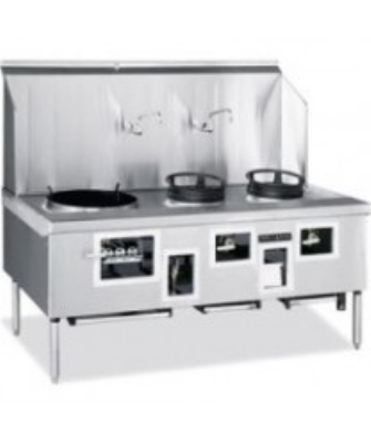 American Range ARCR2 LP 2-Bowl Wok Range w/ Built-in Drain System & Water Cooled Top, LP