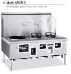 American Range ARCR3 NG 3-Bowl Wok Range w/ Built-in Drain System & Water Cooled Top, NG