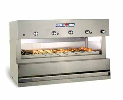 "American Range AROB-24 NG 24"" Over Fired Broiler w/ 2-Burner, Counter, Stainless Exterior, 46000-BTU, NG"