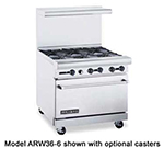 "American Range ARW36-12FT-4B 36"" 4-Burner Gas Range with French Top, NG"
