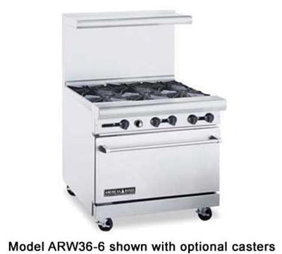 """American Range ARW36-4B-12RG 36"""" 4-Burner Gas Range with Griddle & Broiler, LP"""