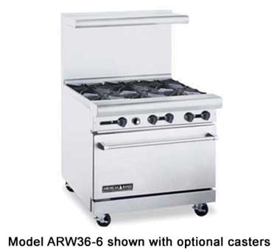 """American Range ARW366NG 36"""" 6-Burner Gas Range, NG"""