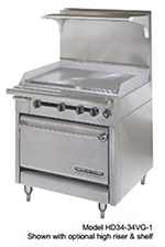 "American Range HD34-17TG-1HT-1 34"" Gas Range with Griddle & Hot Top, NG"