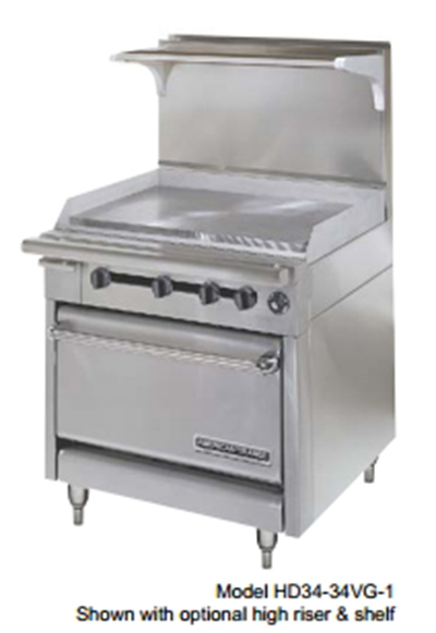"American Range HD34-17TG-1HT-1C 34"" Gas Range with Griddle & Hot Top, LP"