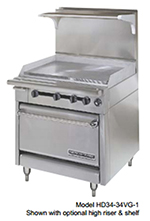 "American Range HD34-17TG-1HT-M 34"" Gas Range with Griddle & Hot Top, LP"