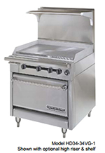 "American Range HD34-17VG-1HT-1C 34"" Gas Range with Griddle & Hot Top, NG"