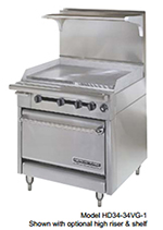"American Range HD34-17VG-1HT-M 34"" Gas Range with Griddle & Hot Top, NG"