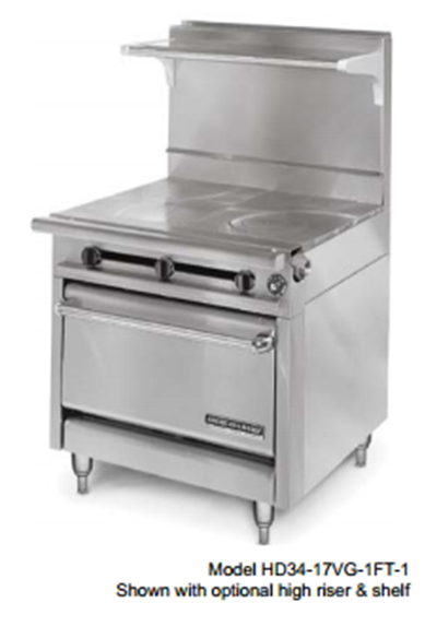 "American Range HD34-23TG-1HT-1 34"" Gas Range with Griddle & Hot Top, LP"