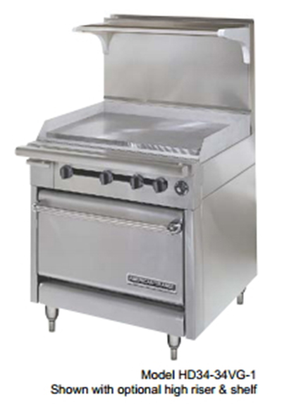 "American Range HD34-23TG-2-1C 34"" 2-Burner Gas Range with Griddle, LP"