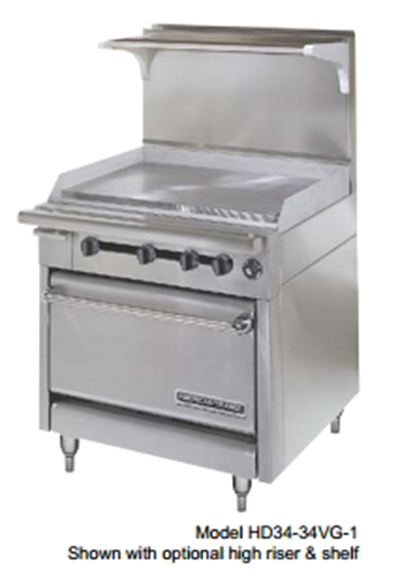 "American Range HD34-23TG-2-M 34"" 2-Burner Gas Range with Griddle, NG"