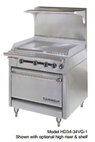 "American Range HD34-23VG-2-1 34"" 2-Burner Gas Range with Griddle, NG"