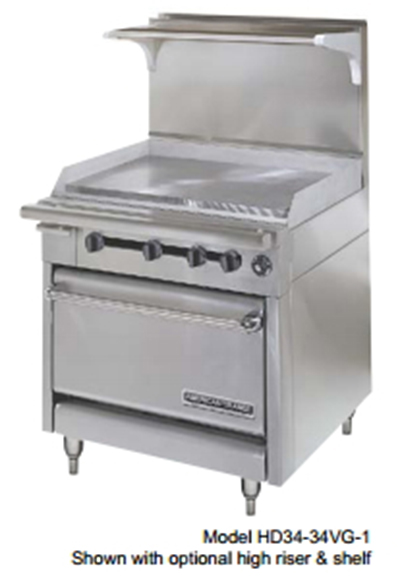 "American Range HD34-23VG-2-1C 34"" 2-Burner Gas Range with Griddle, NG"