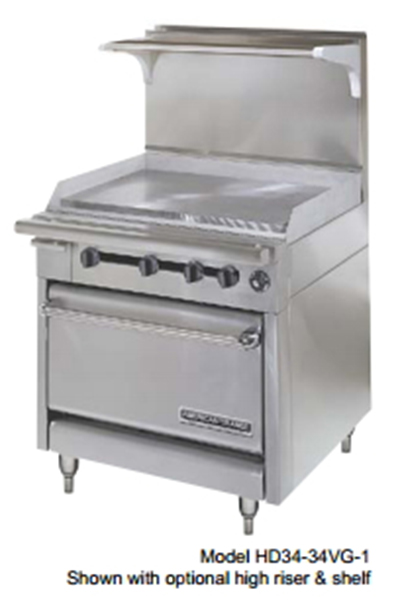 "American Range HD34-23VG-2-M 34"" 2-Burner Gas Range with Griddle, LP"