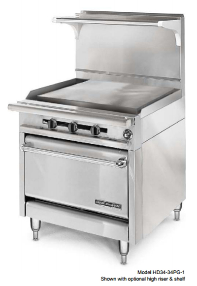 "American Range HD34-34PG-1C 34"" Gas Range with Griddle, NG"