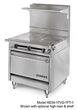 "American Range HD34-3HT3-1C 34"" 3-Burner Gas Range with Hot Top, NG"