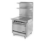 "American Range HD34-3HT3-M 34"" 3-Burner Gas Range with Hot Top, NG"