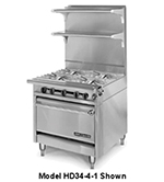 "American Range HD34-4SU-1 34"" 4-Burner Gas Range, Step-up, LP"