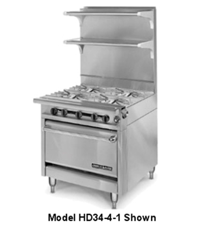 "American Range HD34-4SU-M 34"" 4-Burner Gas Range, Step-up, LP"