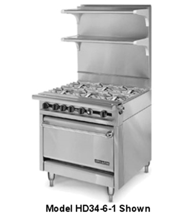 "American Range HD34-6SU-M 34"" 6-Burner Gas Range, Step-up, LP"