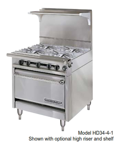 "American Range HD34-17TG-2-1 34"" 2-Burner Gas Range with Griddle, LP"