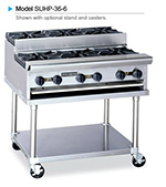 American Range SUHP36-6 LP 36-in Countertop Hotplate w/ 6-Burners, Manual, 192000-BTU, LP