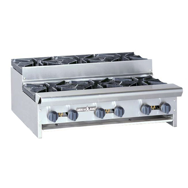 "American Range SUHP36-6 LP 36"" Countertop Hotplate w/ 6-Burners, Manual, 192000-BTU, LP"