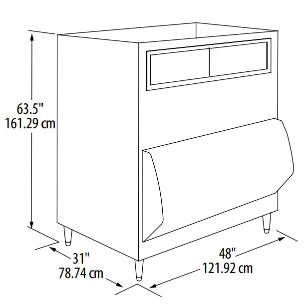 """Manitowoc Ice F-1300 48"""" Wide 1320-lb Ice Bin with Lift Up Door"""