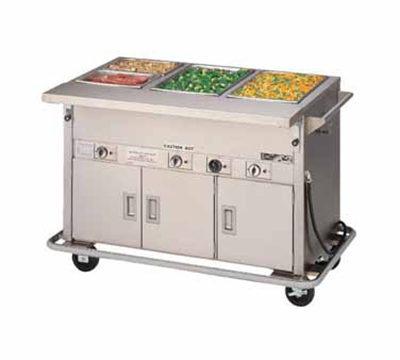 Piper Products DME-4-PTSB 240 64-in Mobile Hot Food Serving Counter, 4-Wells, Unheated Cabinet Base, 240/1V