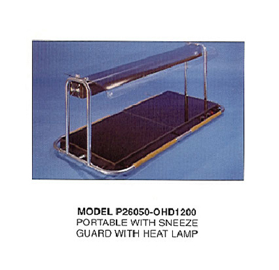 Piper Products P26050-OHD1200HS 53.25-in Portable Hot Plate w/ Sneeze Guard & Heat Lamp, Hot Spot, 2-Section