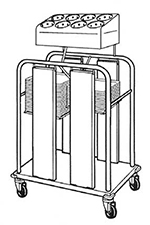 Piper Products PTS/1014MO2 2-Stack Mobile Tray Silverware Dispenser w/ 8-Cylinders & 300-Tray Capacity