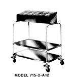 Piper Products 715-2-A12 2-Stack Tray Silver Cart w/ 200 Plate Cap