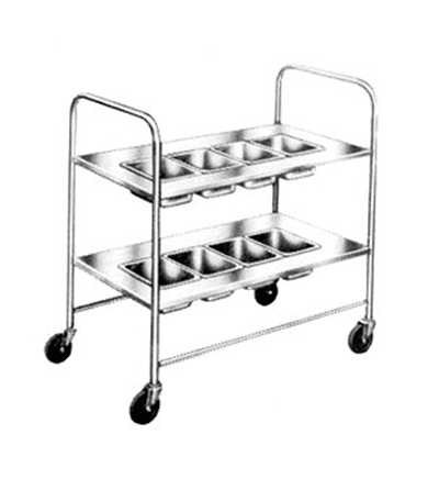 Piper Products 718 2-Shelf Silver Cart w/ 4-Pan Top Shelf & Solid Lower Shelf, 2-Push Handles