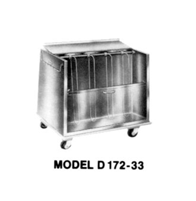 Piper Products D172-23 23-in Enclosed 2-Compartment Dish Cart w/ 10-Dish Size, Extra Low