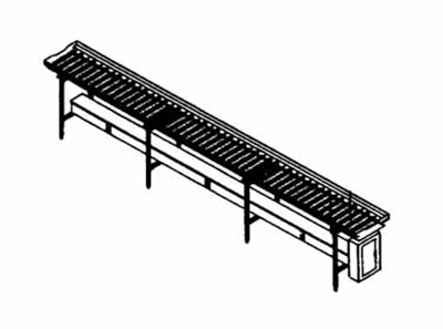 Piper Products SRC20 20-ft Conveyor Tray Make-Up w/ Gravity Operation, PVC Rollers, Stainless