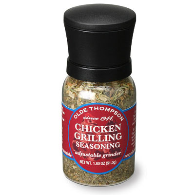 Olde Thompson 1040-11 Disposable Mini Grinder w/ Chicken Grilling Seasoning, 1.8-oz Jar