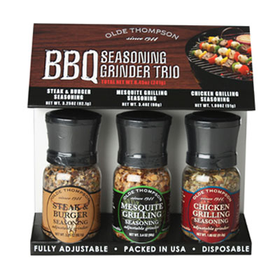 Olde Thompson 1040-90 BBQ Grinder Trio w/ 3.25-oz Steak, 3.4-oz Mesquite & 1.8-oz Chicken Seasonings