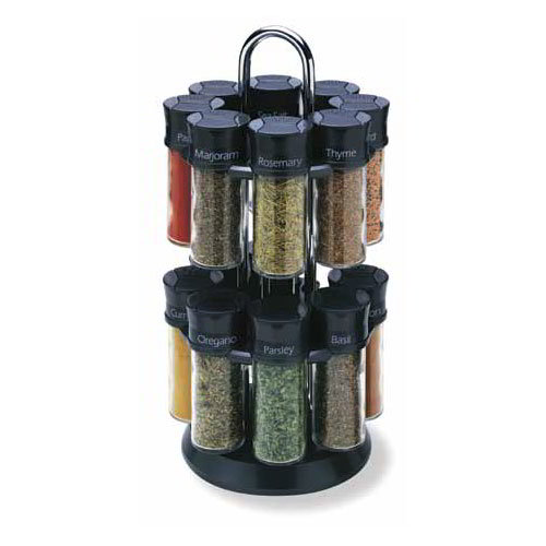 Olde Thompson 25600B Spice Rack, Carousel, Holds 16, Glass W/Black Flip-Top Lids, Filled