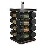 Olde Thompson 25610ES Spice Rack, Espresso, Square, Wood Finish, Glass/W Flip-Top Lids