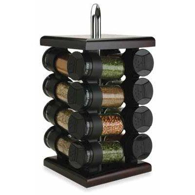 Olde Thompson 25610ES Spice Rack, Espresso, Square, Wood Finish, Glass/W Flip-Top Lids
