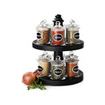 Olde Thompson 25-636 12-Jar Spice Rack w/ Carrying Handle on Lazy Susan, Glass Jars