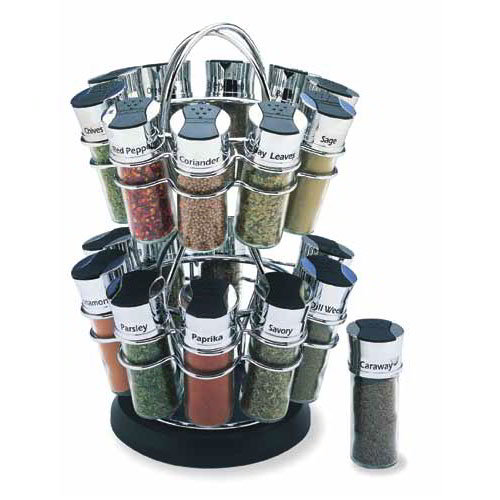 Olde Thompson 25640C Spice Rack Revolving Flower, Holds 20 Chrome/Black Flip-Top Lid