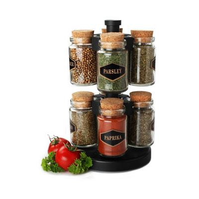 Olde Thompson 25-643 8-Jar Spice Rack w/ Carrying Handle on Lazy Susan, Glass Jars