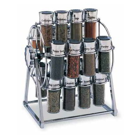 Olde Thompson 25645C Spice Rack, Ferris Wheel, Holds 20, Chrome/Black Flip-Top Lid, Filled